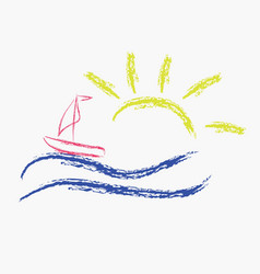 Summer icon with a ship and the sea vector