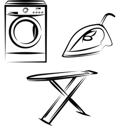Washing appliances set vector