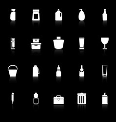 Design package icons with reflect on black vector