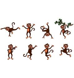 cute monkey cartoon collection vector image