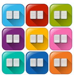 Buttons with communication notebooks vector