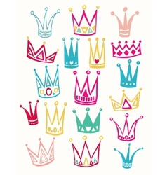 Set of cute cartoon crowns hand drawing vector