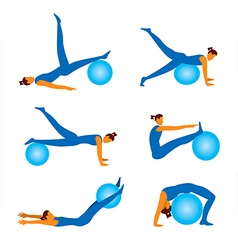 Fitnees icons with ball vector