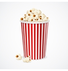 Popcorn in red and white cardboard box for cinema vector