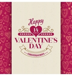 Valentines Day Typography Greeting Card over vector image