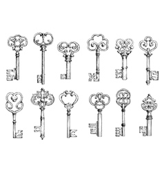 Vintage keys sketches in engraving style vector