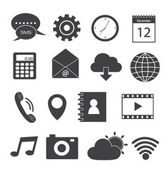 Mobile application icons set vector