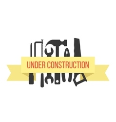 Under construction on yellow ribbon with black vector