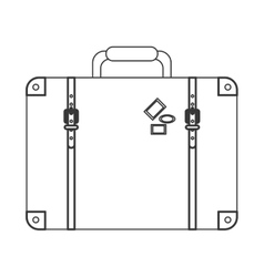 Suitcase with handle and stickers icon vector
