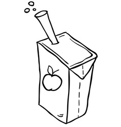 black and white freehand drawn cartoon juice box vector image vector image