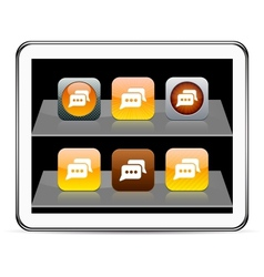 Chat orange app icons vector image