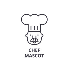 chef mascot line icon outline sign linear symbol vector image vector image