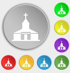 Church icon sign symbol on eight flat buttons vector