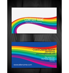 colorful wave style business card design vector image