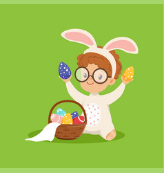 cute little boy with bunny ears and rabbit costume vector image