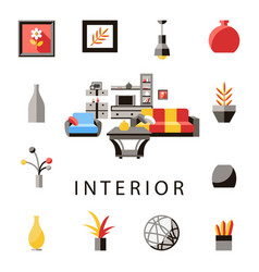 digital yellow furniture icons vector image vector image