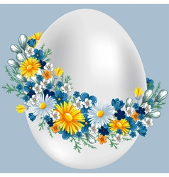 easter egg in a wreath of flowers vintage style vector image vector image