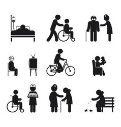 Elderly care icons vector