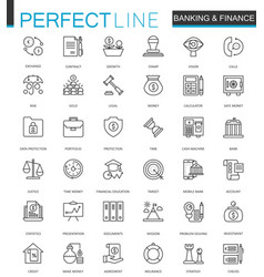 finance and banking thin line web icons set vector image vector image