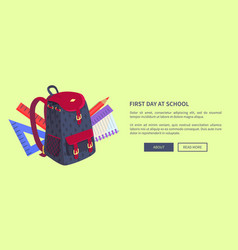 First day at school poster with cute backpack vector