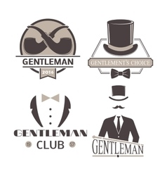 Gentlemens hipster icon logo badge vector image vector image