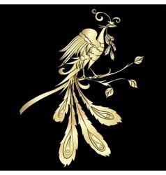 Golden silhouette fire-bird vector image