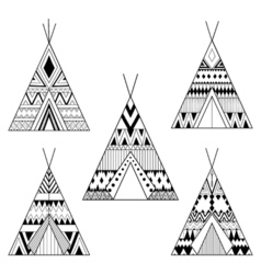 Hand drawn american native wigwams set with ethnic vector