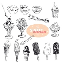 Hand drawn set with ice Cream vector image