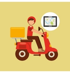 hand hold tablet delivery food boy vector image vector image