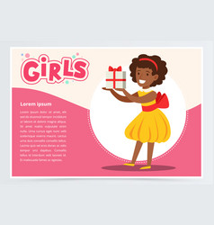 Happy african girl holding gift box cute kid vector
