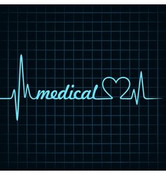 Heartbeat make a medical text and heart symbol vector