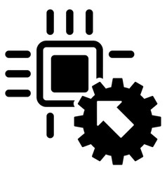 hitech processor and gear integration flat vector image