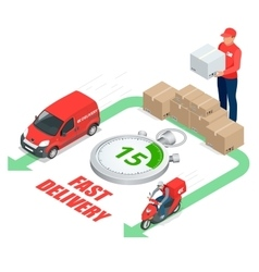 Isometric delivery service concept Fast delivery vector image vector image