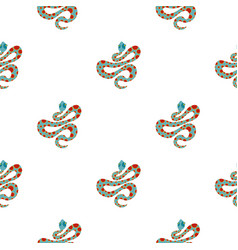 Light blue snake with orange spots pattern flat vector