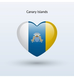 Love Canary Islands symbol Heart flag icon vector image vector image