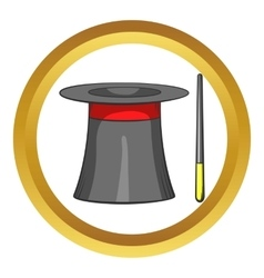 Magic hat and wand icon cartoon style vector