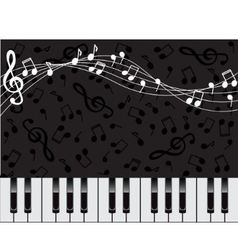 musical background with keys and notes vector image