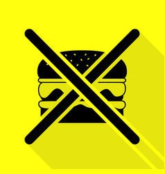 No burger sign black icon with flat style shadow vector
