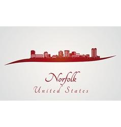 Norfolk skyline in red vector image vector image