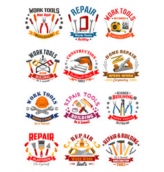 repair construction work tools icons vector image vector image