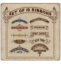 set of 10 ribbons vector image vector image