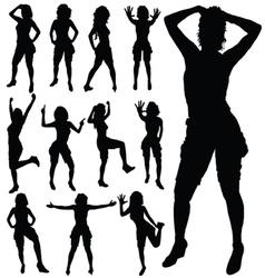 Sexy girl posing black silhouette vector