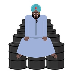 Sheikh sits on barrels of oil wealth of sultan vector