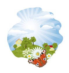 Summer rural landscape vector image