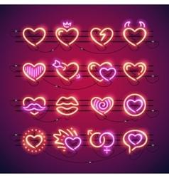 Valentine Neon Hearts vector image