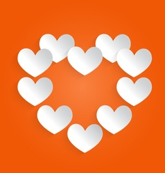 White heart on an orange background vector image vector image