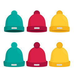 Winter hats set isolated flat vector