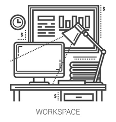 Workplace line icons vector image vector image