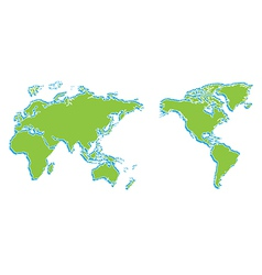 World map and compass of vector image vector image