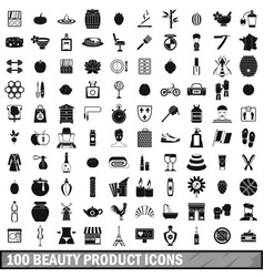 100 beauty product icons set simple style vector